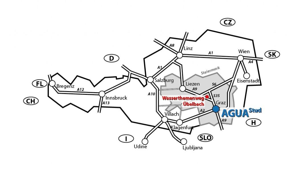 Lageplan Aguastud und Wasserthemenweg Übelbach