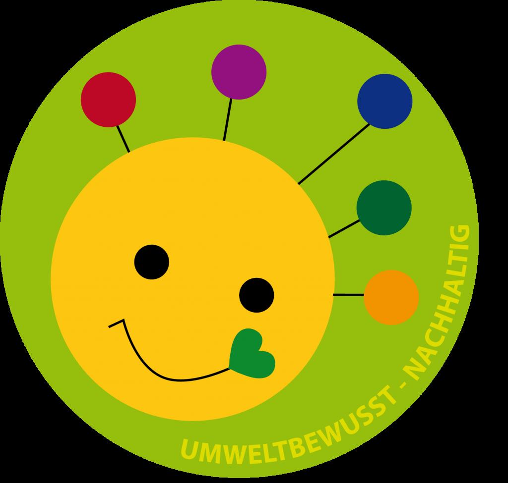 Umweltsmiley_Button_mit Rand_umweltbewusst_nachhaltig