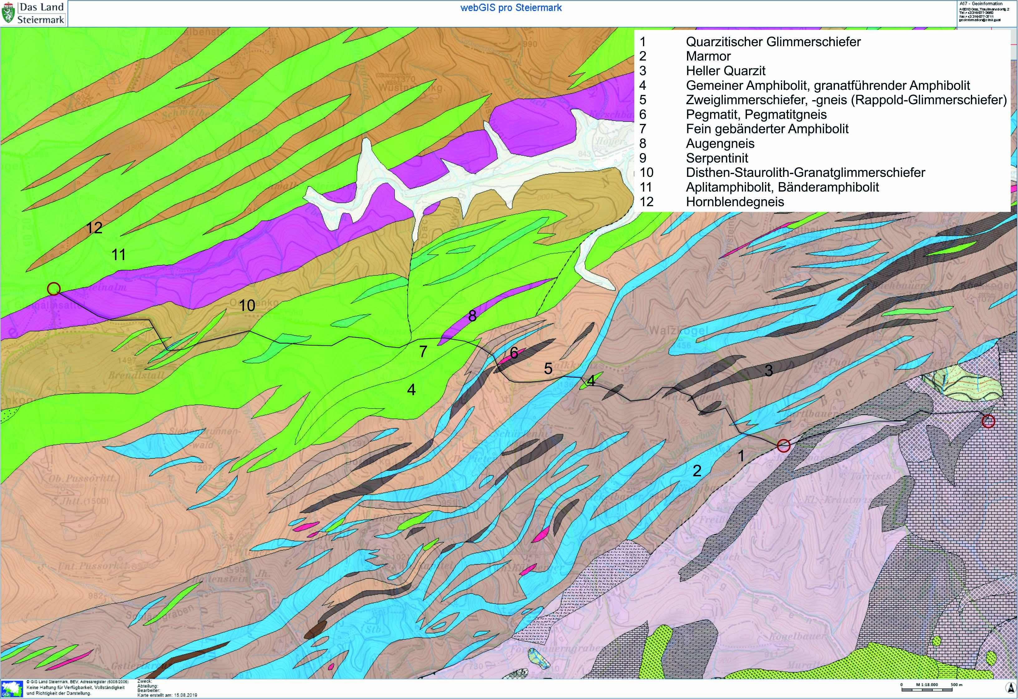 Geologie mit Weg, Legende (2)